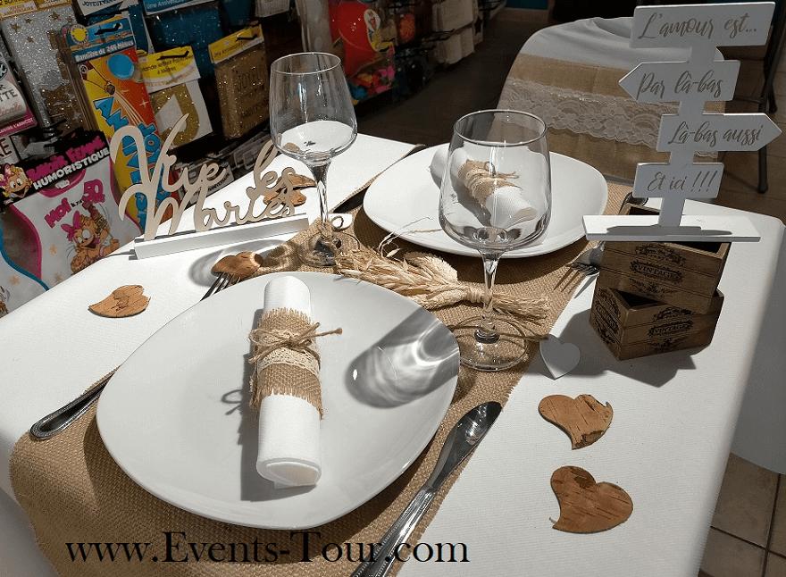 Decoration de table mariage champetre et rose gold totem