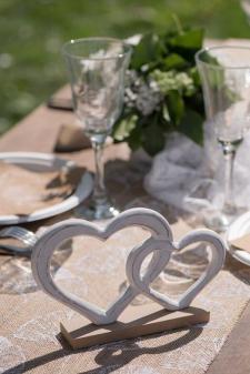 Location d'un centre de table mariage « coeur » pour votre décoration de table. (x1) REF/EV-321