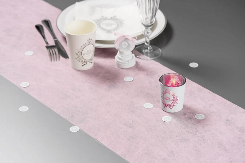 Decoration de table mariage rose et blanche