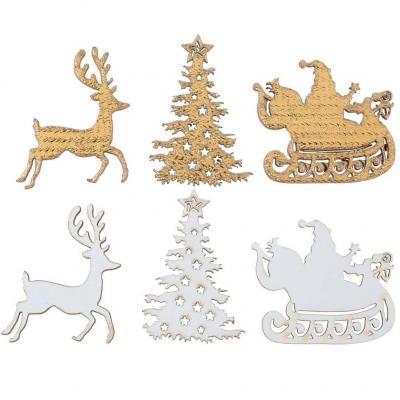 Décoration de table Noël à parsemer blanc et or métallique en bois (x12) REF/7070
