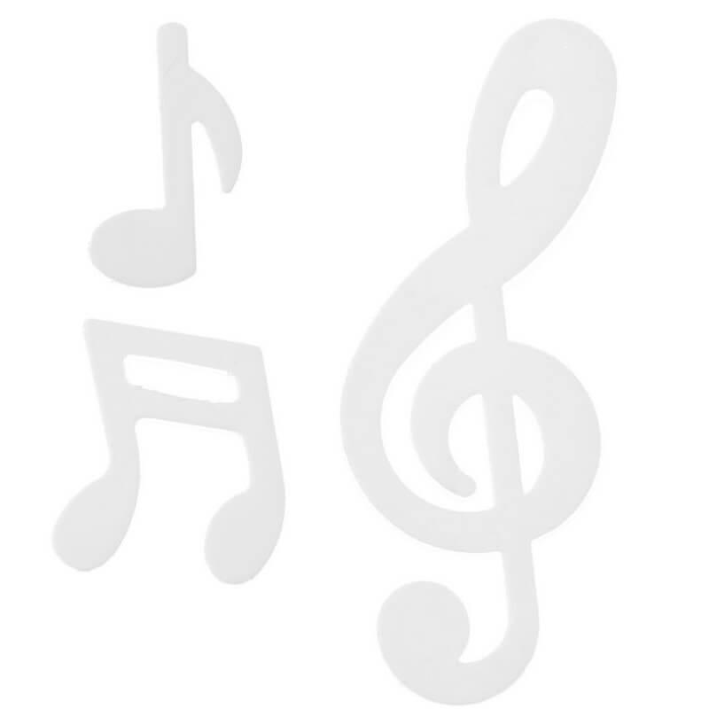 Decoration de table note de musique blanc en bois