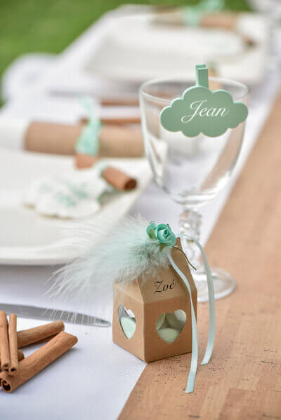 Decoration de table nuage mint 1