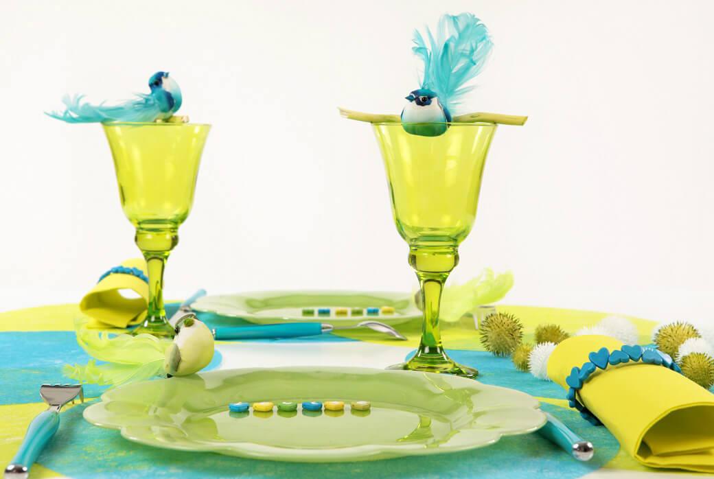 Decoration de table oiseau bleu