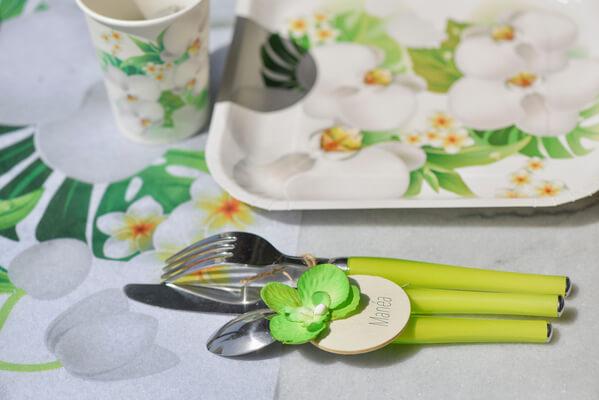 Decoration de table orchidee verte