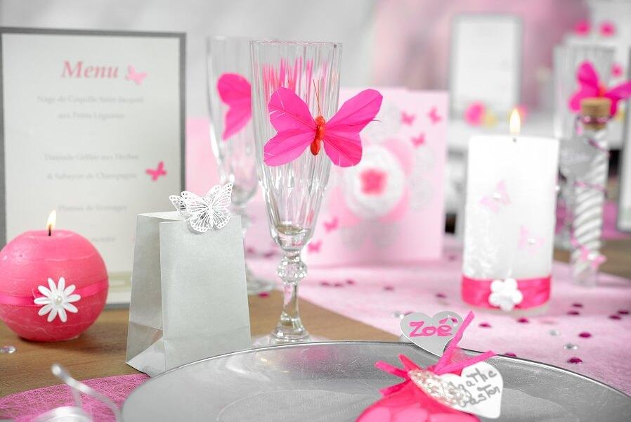 Decoration de table papillon fuchsia 1