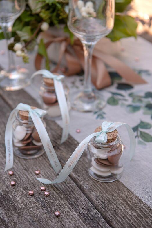 Decoration de table perle de pluie rose gold