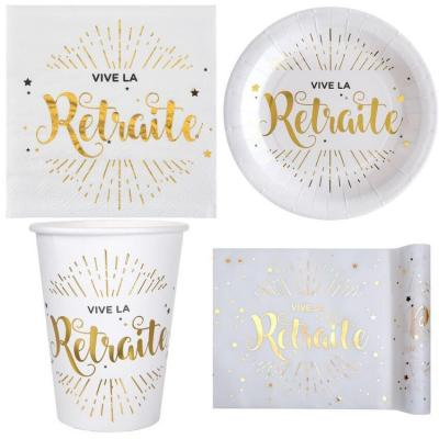 1 Pack décoration de table retraite blanc et or métallique pour 10 personnes.