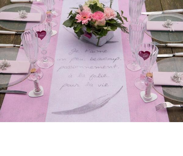 Decoration de table rose pale