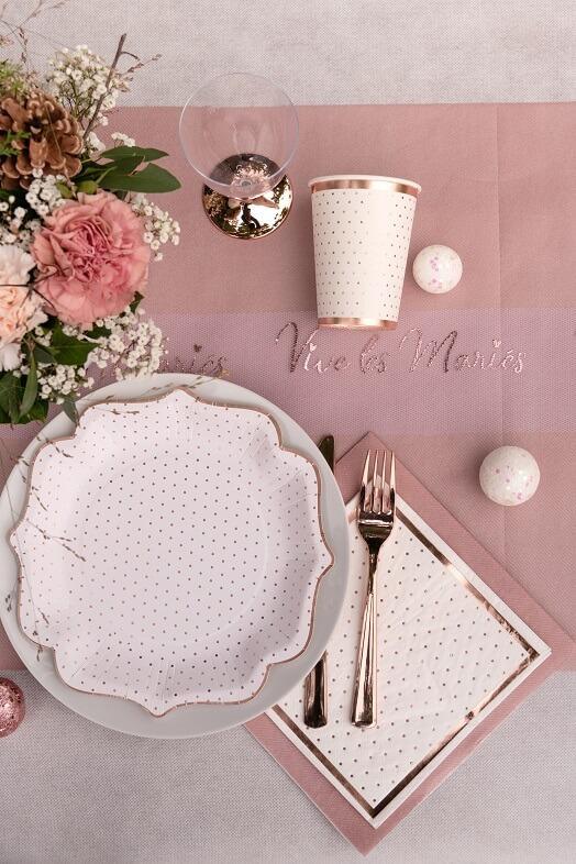 Decoration de table serviette airlaid rose gold metallisee