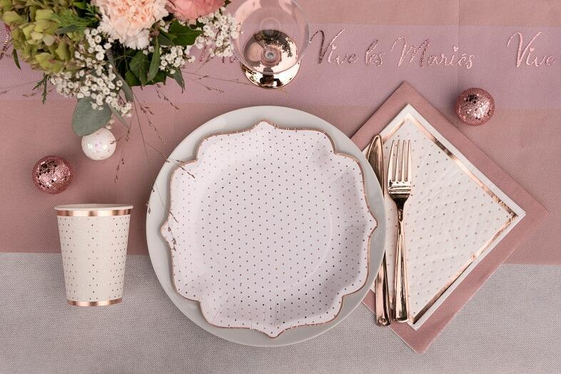 Decoration de table serviette airlaid rose gold