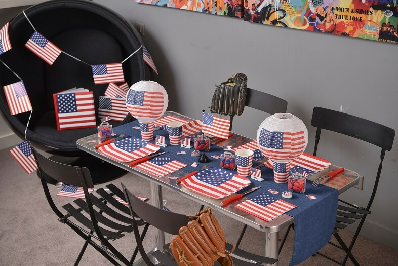 Decoration de table serviette amerique