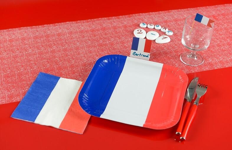 Decoration de table serviette france tricolore