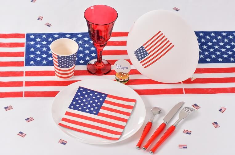 Decoration de table serviette usa