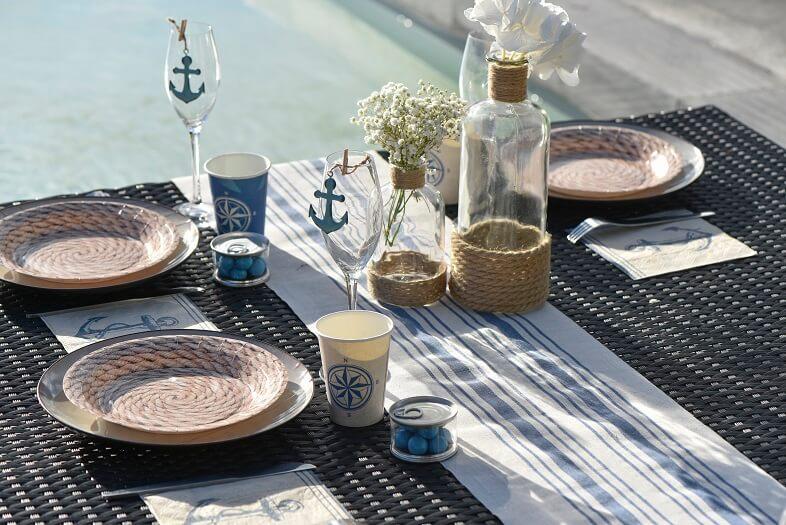 Decoration de table traditionnelle bleu