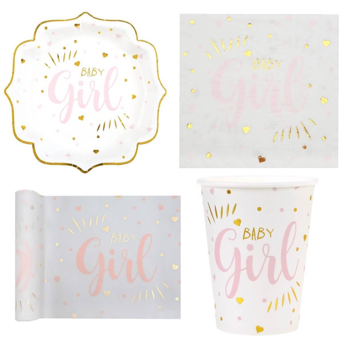 Decoration de table vaisselle baby shower blanc or et rose