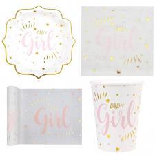 1 Pack décoratif avec vaisselle Baby Shower Girl en blanc, rose et doré métallisé pour 10 personnes.
