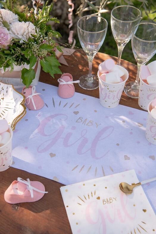 Decoration de table vaisselle baby shower blanc rose et or
