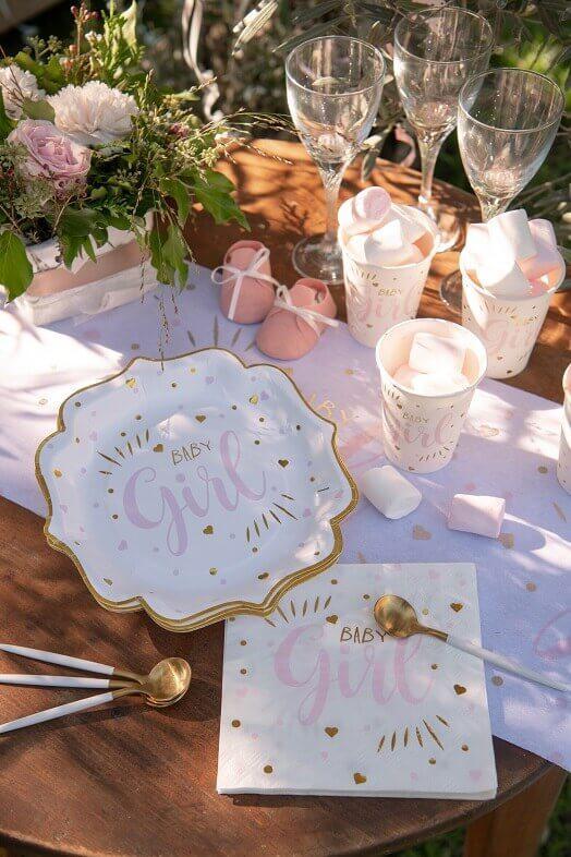 Decoration de table vaisselle baby shower rose blanc et or