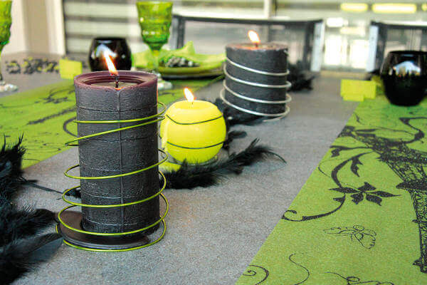 Decoration de table verte et noire