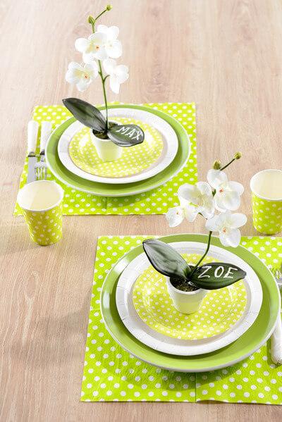Decoration de table verte pois