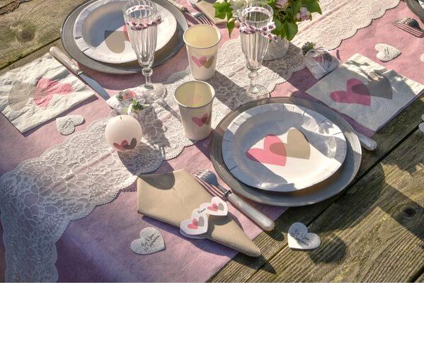 Decoration de table vintage rose