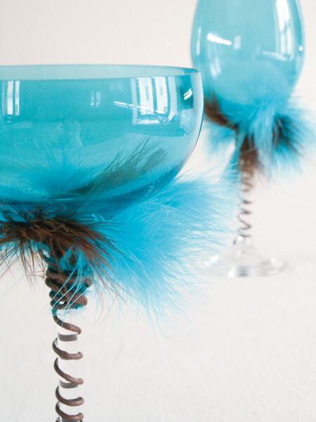 Decoration de verre bleu