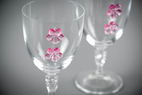 Decoration de verre fuchsia