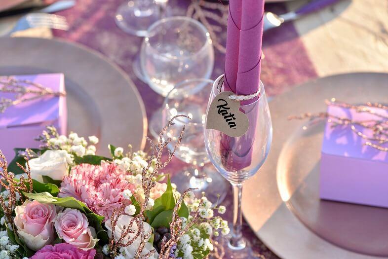 Decoration de verre mariage avec marque place coeur