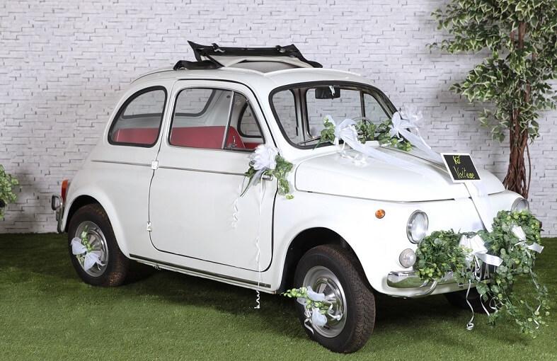 Decoration de voiture mariage blanc