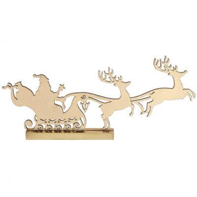 Décoration dorée en bois avec traineau du père Noël et ses cerfs (x1) REF/7069
