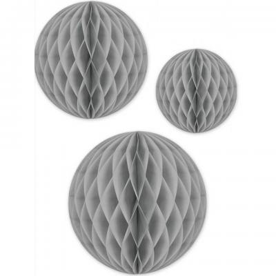 Décoration de salle suspension boule alvéolée grise (x3) REF/TSBG