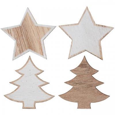 Décoration Noël à parsemer étoiles et sapins naturel et blanc (x12) REF/7426