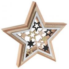 Décoration de table étoile en bois raffiné (x1) REF/6604