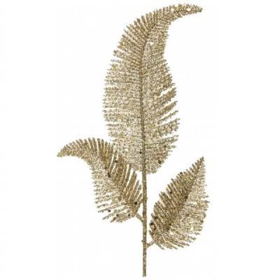 Decoration feuille de palme doree or sur tige