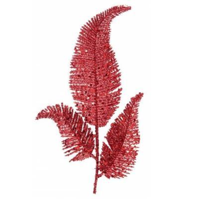 Decoration feuille de palme rouge sur tige