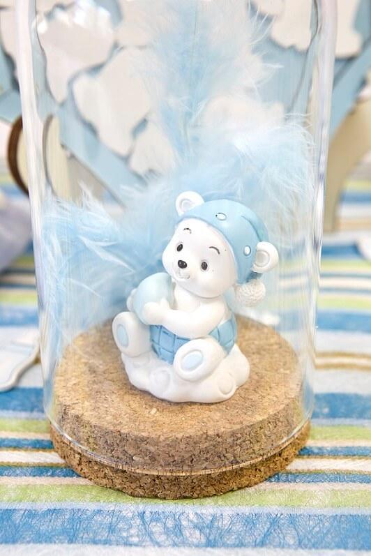 Decoration figurine sujet garcon bleu ourson