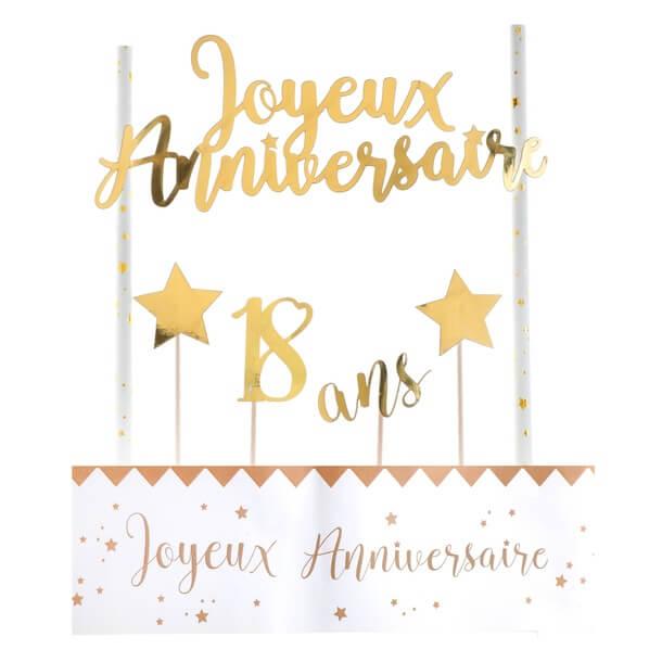 Decoration gateau anniversaire 18ans or et blanc