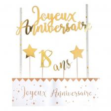 Décoration gâteau anniversaire blanc et or 18ans (x1) REF/6221