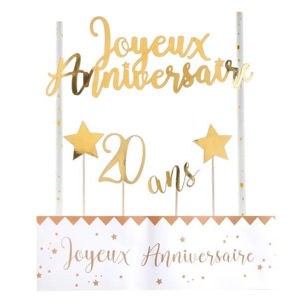 Decoration gateau anniversaire 20ans or et blanc