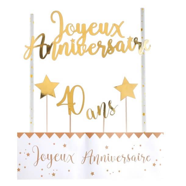 Decoration gateau anniversaire 40ans or et blanc
