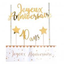 Décoration gâteau anniversaire blanc et or 40ans (x1) REF/6221