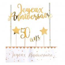 Décoration gâteau anniversaire blanc et or 50ans (x1) REF/6221