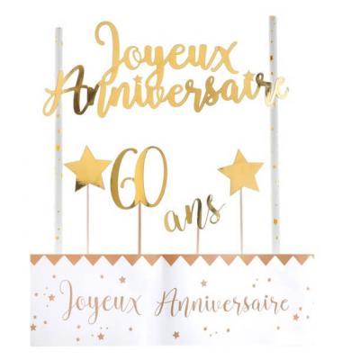 Décoration gâteau anniversaire blanc et or 60ans (x1) REF/6221