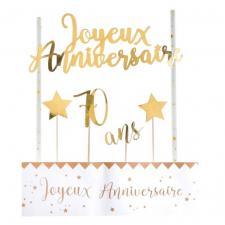 Décoration gâteau anniversaire blanc et or 70ans (x1) REF/6221