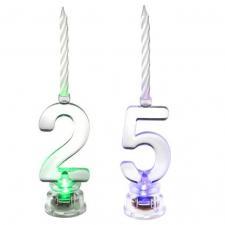 1 Pack décoration de gâteau anniversaire avec bougie LED chiffre 25 REF/5861