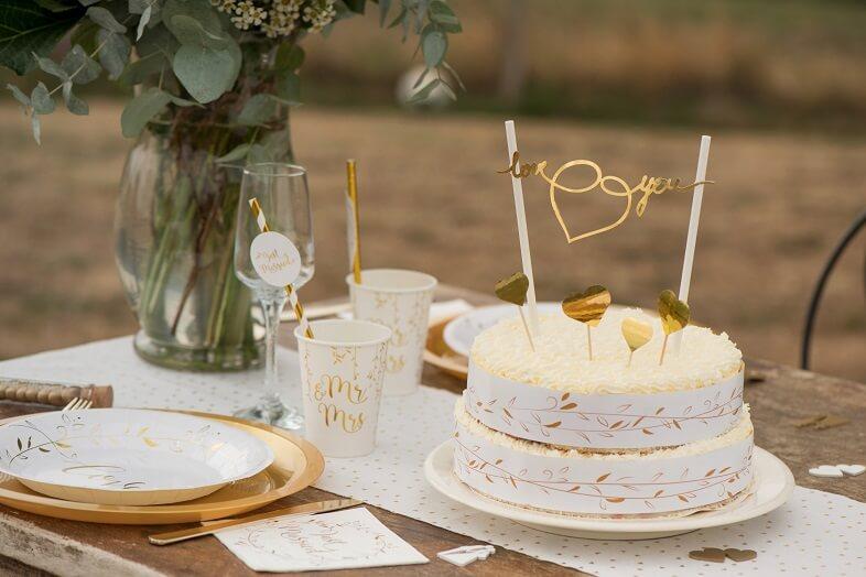 Décoration Gâteau De Mariage Blanc Et Or X1 Ref6331