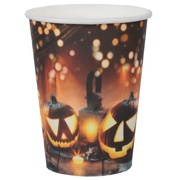 Decoration halloween citrouille et lanterne gobelet carton
