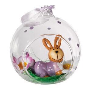 Boule en verre, lapin de Pâques (x1) REF/100877
