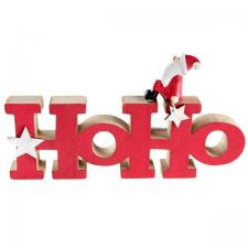 Décoration lettre en bois de Noël rouge: HOho (x1) REF/6611