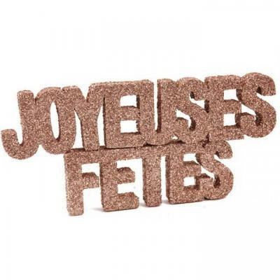 Décoration de table joyeuses fêtes avec lettre rose gold pailletée (x1) REF/DEK0043